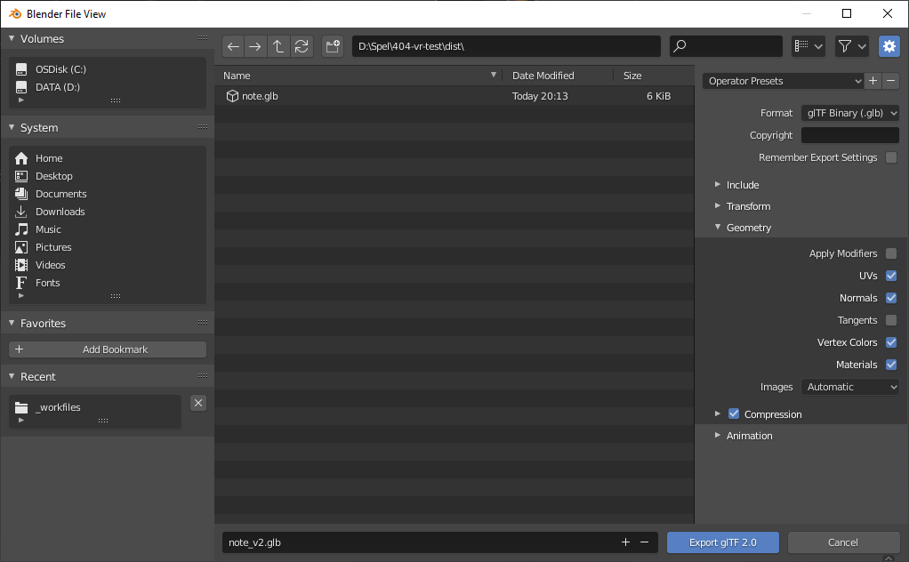 Screenshot of Blenders export settings for glTF with Draco 3D compression enabled